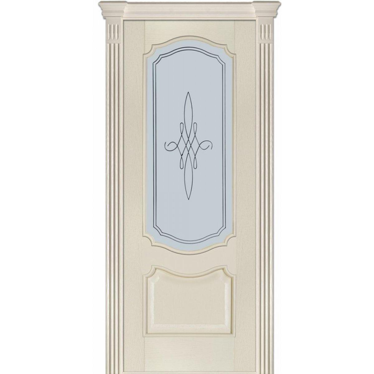 Двери Модель 41 Каро Терминус ясень crema эмаль со стеклом