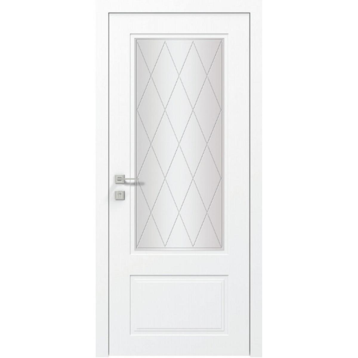 Межкомнатная дверь Cortes Galant со стеклом сатин рис.7 белый мат Rodos