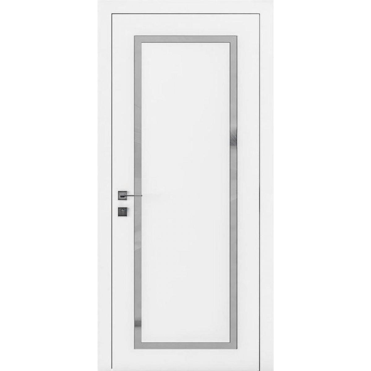 Межкомнатная дверь Cortes Porto 2 полустекло,стекло сатин 2 без рис. белый мат Rodos