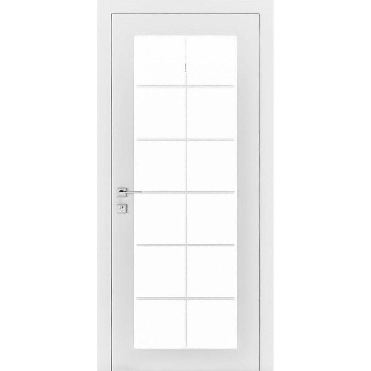 Межкомнатная дверь Cortes Porto стекло триплекс сатин 2 рис.8 белый мат Rodos