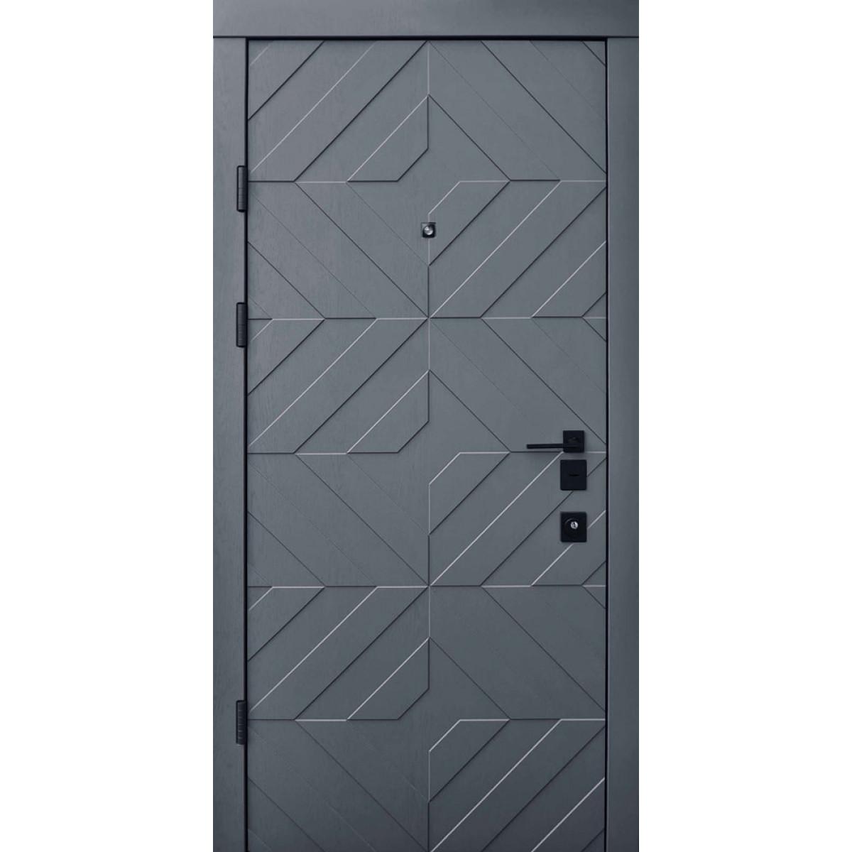 Входная дверь Qdoors Авангард Тиффани грифель структуры / софт белая эмаль (ЧБ)