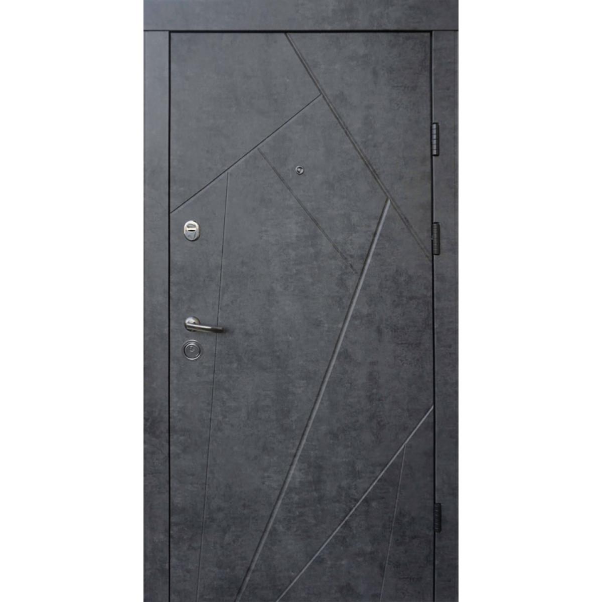 Входная дверь QDOORS Ультра Флэш мрамор темный / бетон бежевый