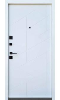 Входная дверь QDOORS Ультра Фрост грифель структуры софт / белое дерево (ЧБ)