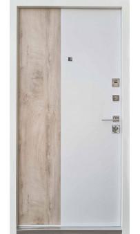 Входная дверь QDOORS Ультра Корса-М карамельное дерево софт белая эмаль (ЧБ)