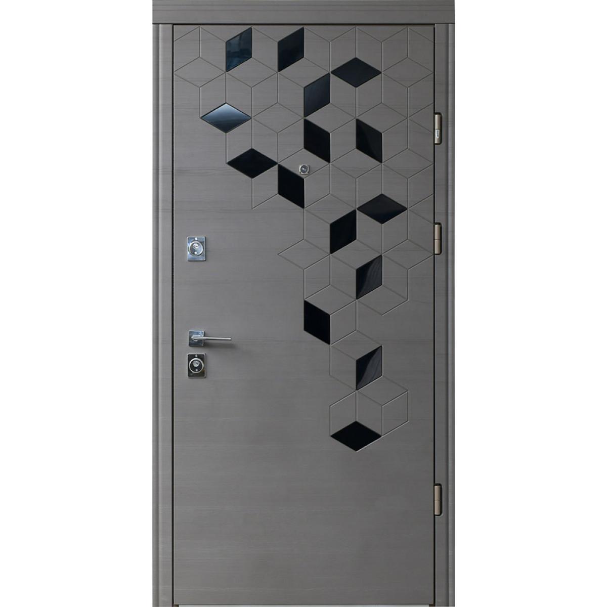 Входная дверь Straj LUX Standart Folio реал графит горизонт natural/ софт милк past